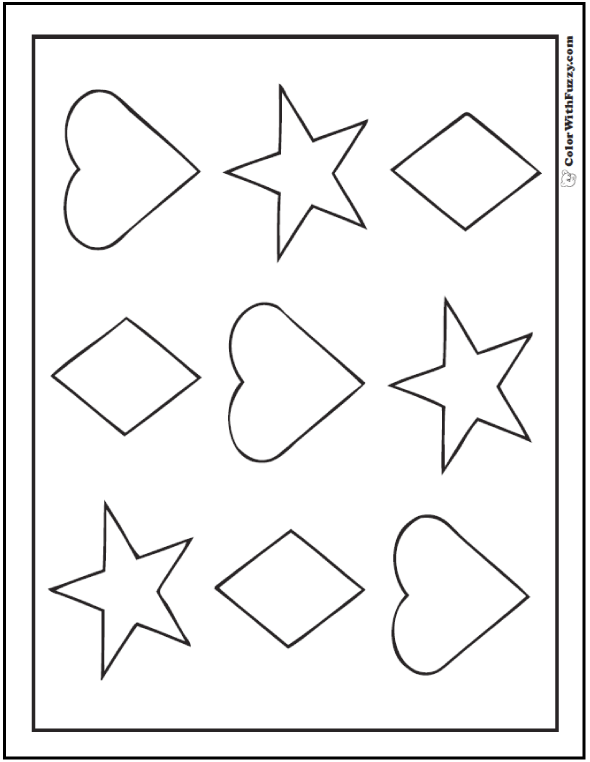 80 Shape Coloring Pages Color Squares Circles Triangles