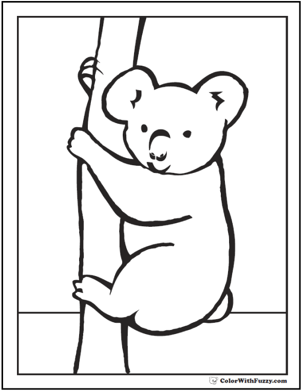 koala coloring pages for kids hop a ride with a koala