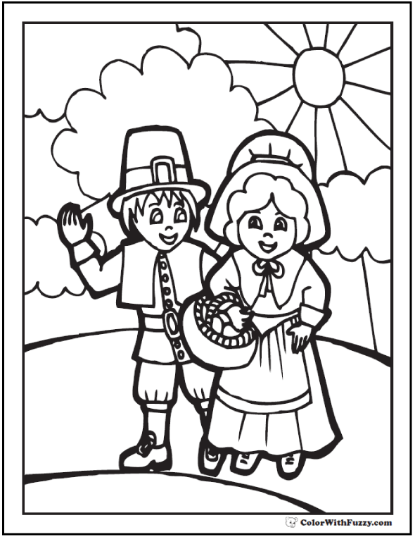 Thanksgiving Coloring Page Pilgrims And Sunshine