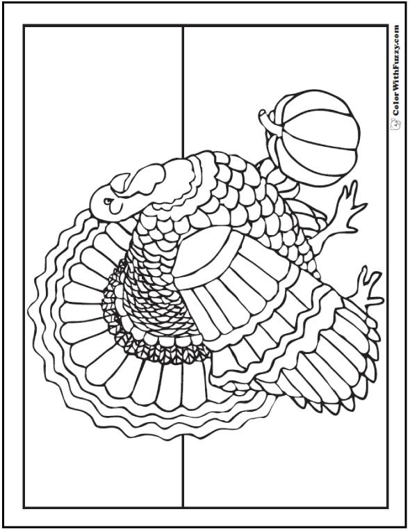 Detaled Cute Thanksgiving Coloring Pages