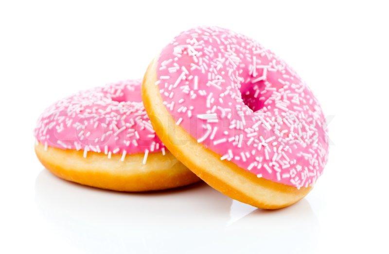 Pink Donut Isolated On White Background Stock Photo