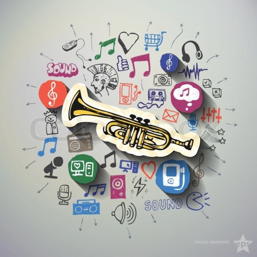 Music and entertainment collage with icons background  Vector     Music and entertainment collage with icons background
