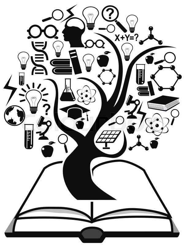 Isolated Black Education Icons Tree Up Stock Vector