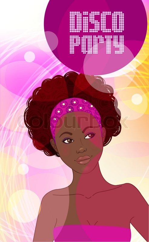 Disco Party Invitation Design Template African Lady