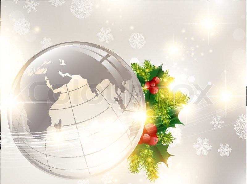 Christmas Holiday Background With World Globe And Pine