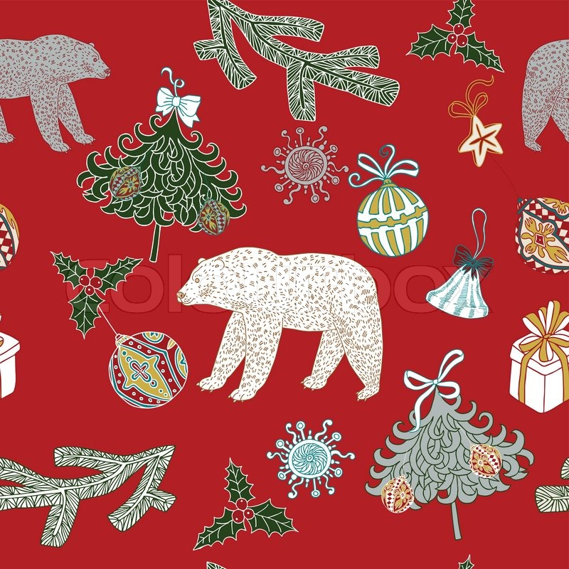 Christmas And New Year Festive Red Background Xmas Retro