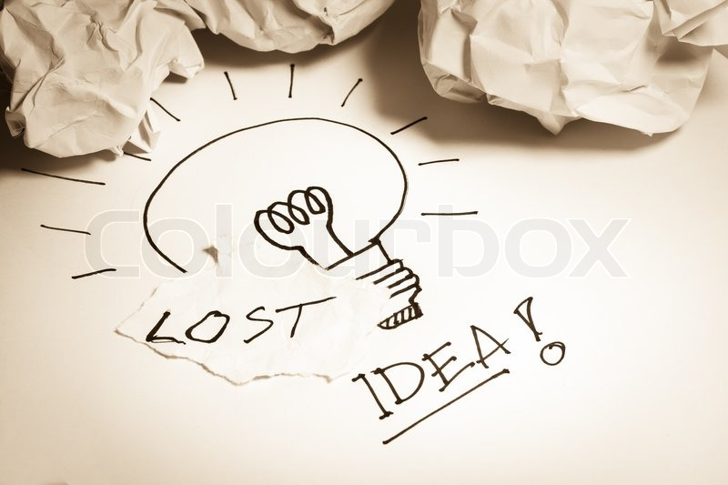 Stock image of 'Lost idea concepts display among clumpled papers'
