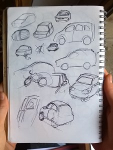 car sketches sketchbook