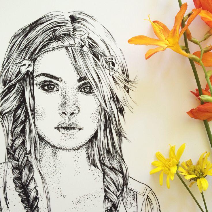 Boho Bohemian Princess illustration art print by Tegan Swyny of Colour Cult. Boho girl art print