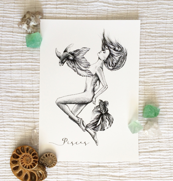 Pisces Horoscope Zodiac Print hand illustration by Tegan Swyny of Colour Cult graphic design and art, Brisbane.