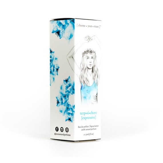 IME Natural Perfumes packaging- designed by Tegan Swyny of Colour Cult graphic design Brisbane.