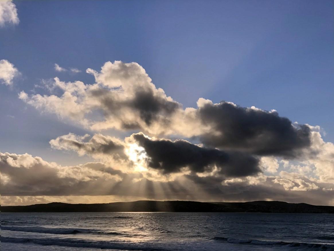 Photos of Sunset with Sun Rays at Godrevy Beach