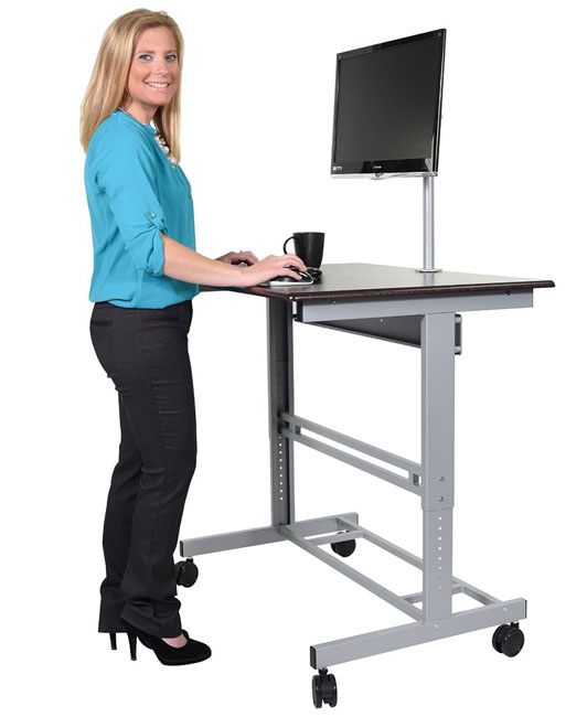 Stand Up Desk 40 Inch Mobile Adjustable Height