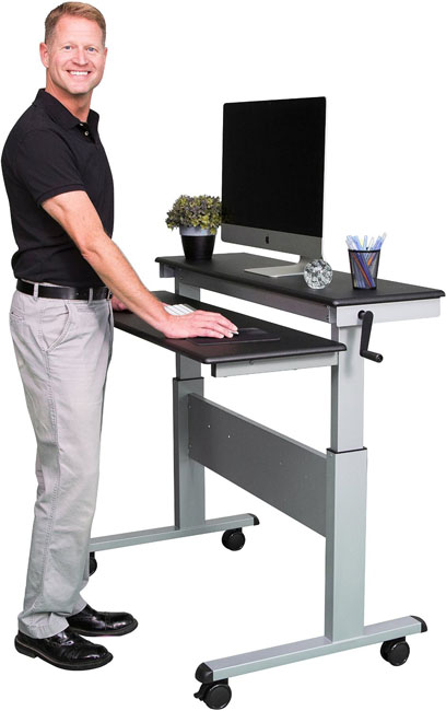 stand up desk 48inch crank adjustable height sit to stand split top desk u2013 two level