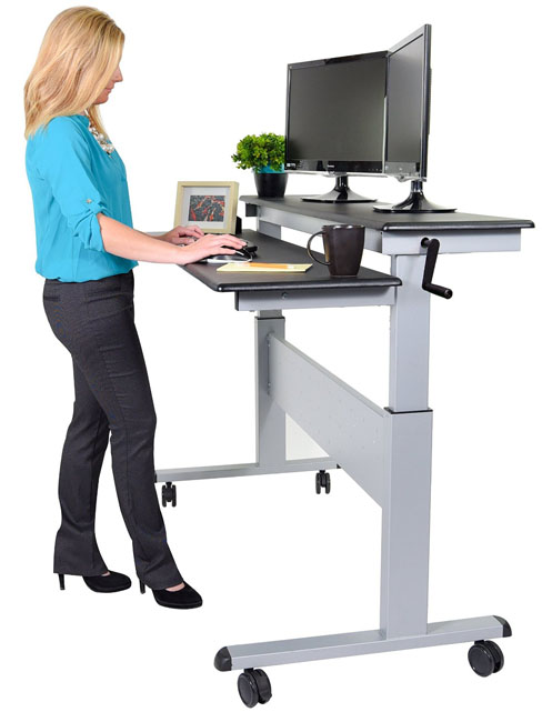 Stand Up Desk Store 60-inch Split Top Crank Steel Adjustable