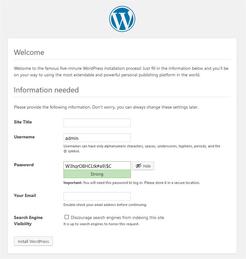 Word Press Website Details