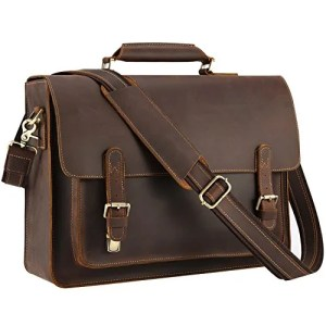 Kattee Mens Leather Satchel Briefcase