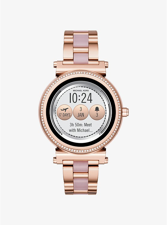 MICHAEL KORS ACCESS Sofie Pavé Rose Gold-Tone and Acetate SmartwatchMKT5041