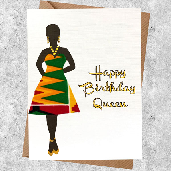Card For A Queen In An Orange Kente Dress New Larger Card Size Colourshot