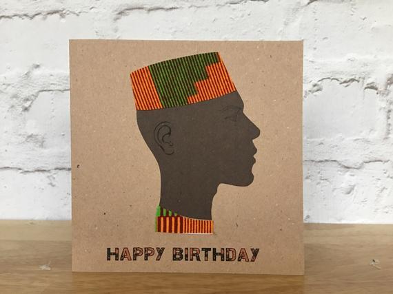 Card For Men Kofia Hat In Orange Green Kente Colourshot