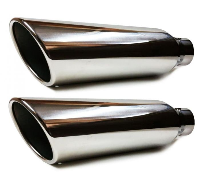 colt universal polish stainless steel truck exhaust tips 2 5 x 17 x 4