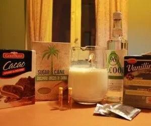 Ingredienti per la ricetta del liquore al cioccolato