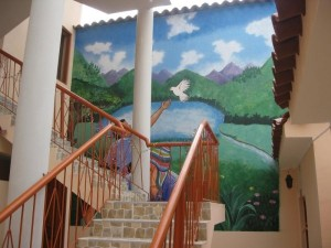 Dove of Peace fresco on the stairwell of the new clinic