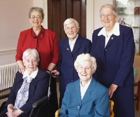 Back Row (l to r): Sisters Maura Dillon, Bernardine Rush and Catherine Hurley. Front Row (l to r) Sisters Mary Justin Cassidy, and Maureen Byrne.