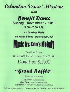 Columban Sisters' Boston (USA) Benefit Dance Nov 17 2013!