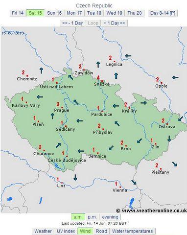 prognoza cehia 15.06.2013 dimineata vant