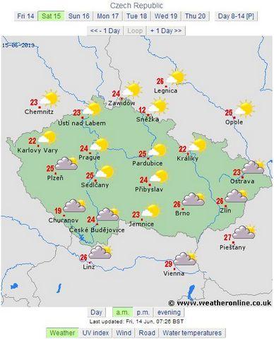 prognoza cehia 15.06.2013 dimineata