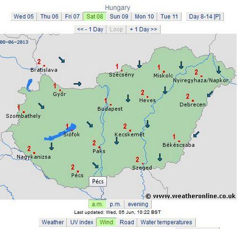 prognoza vant pentru 8 iunie 2013 ungaria dimineata