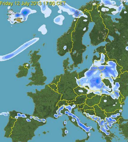 prognoza precipitatii polonia 12 iulie 2013 ora 17