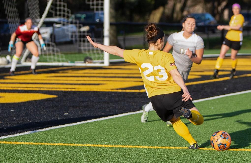 Eagles midfielder Christy Zwolski takes a shot against ODU | Daniel Herlensky