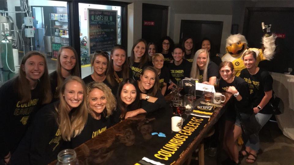 The 2018 Columbus Eagles at Land-Grant Brewing Company for the season kickoff party.