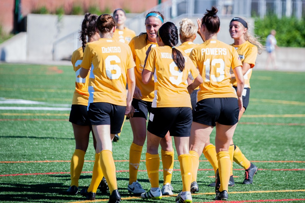 The Eagles celebrate Samantha Damante's goal on July 8 in Pittsburgh | Ralph Schudel