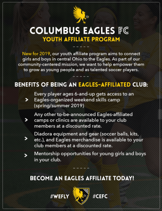 The Eagles are launching a youth affiliate program for local clubs and teams in central Ohio.