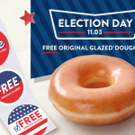 "Free Krispy Kreme Doughnut on Election Day, plus an ""I Voted"" sticker!"