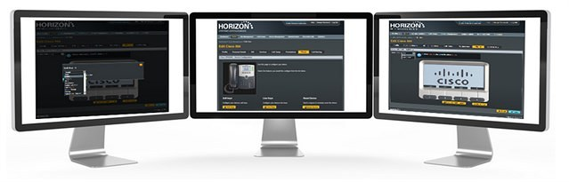 Image of display monitors illustrating Horizon web portal used for hosted business phone system management.