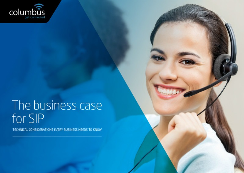 Image of the business case for SIP eGuide cover page from Columbus UK. Columbus explores the business case for ISDN replacement services such as SIP Trunks and Hosted Telephony Solutions from Columbus UK.
