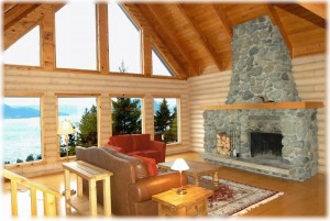 Living room of Serenity Cabin at Howe Sound, British Columbia