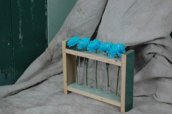 Modern Rustic Upcycled Recalimed wood flower rack tube holder