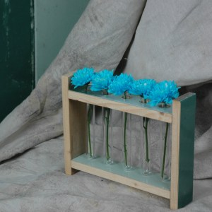 Modern Rustic Upcycled Recalimed wood flower rack tube holder