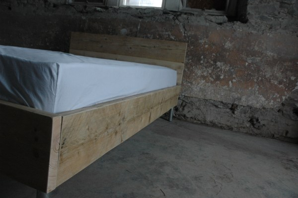 Modern rustic industrial reclaimed upcycled scaffold board bed frame