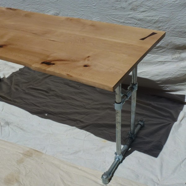Live Edge Wood and Industrial Steel Dining Table