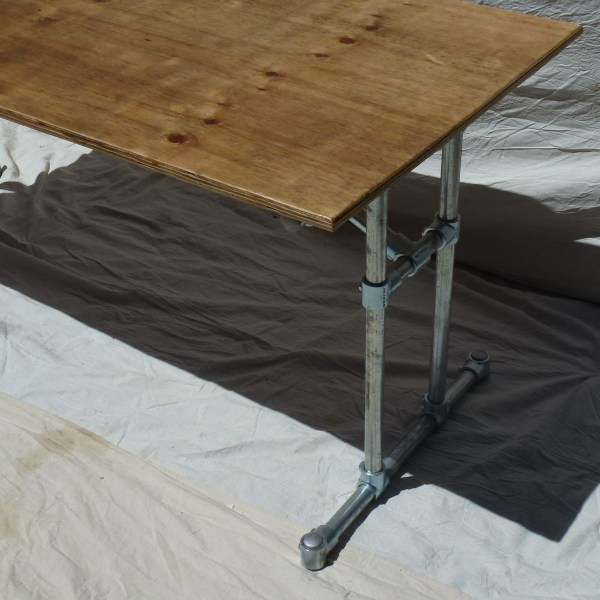 Reclaimed Plywood and Industrial Steel Frame Dining Table