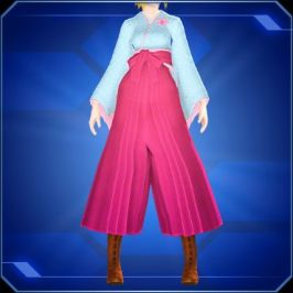 A lower-body shot of model wearing a blue kimono, pink hakama, and brown boots.