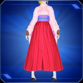 A lower-body shot of model wearing a pink kimono, red hakama, and black shoes.
