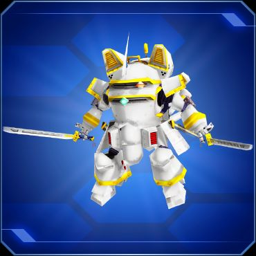 A white robot wielding two swords