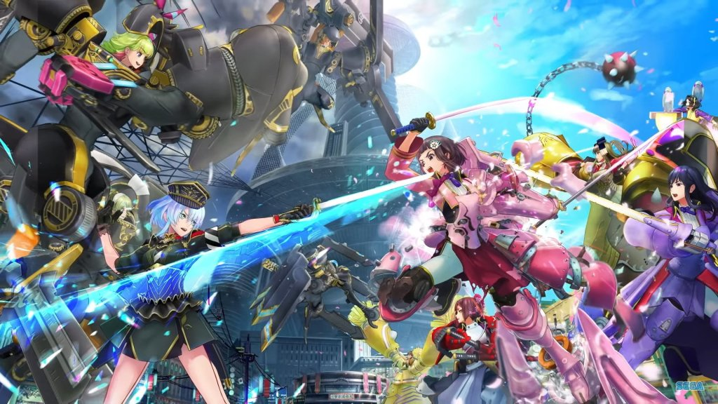A raven-haired girl in a pink uniform lunges at a blue-haired girl in black. Both are wielding swords, and flanked by allies in mechanical suits.
